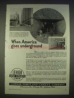 1940 Lehigh Cement Ad - Tunnel under Newark, NJ
