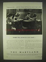 1940 The Maryland Insurance Ad - Will Never Be Again