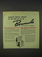 1940 Bermuda Tourism Ad - Weekly Service by Sea or Air