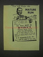 1940 Myers Rum Ad - You Will Prefer This Mature Rum