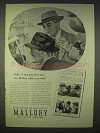 1939 Mallory Hats Ad - Racquet Club, Velshire
