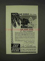 1939 San Diego California Tourism Ad - Come This Time