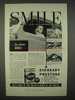 1938 Eveready Prestone Anti-Freeze Ad - Smile!