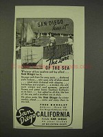 1938 San Diego California Ad - The Lure of The Sea