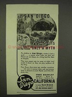 1938 San Diego California Ad - Winter is Only a Myth