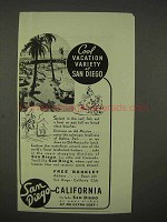 1938 San Diego California Ad - Cool Vacation Variety