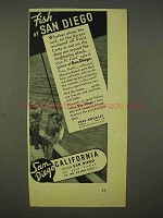 1938 San Diego California Tourism Ad - Fish At