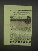 1938 Michigan Tourism Ad - Land of Adventure Romance