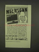 1938 Michigan Tourism Ad - Wonderful Vacation Land