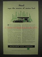 1937 Bethlehem Steel Ad - Taps The Source of Motor Fuel