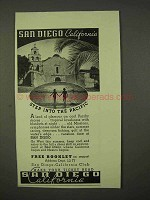 1937 San Diego California Ad - Step Into the Pacific
