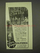 1937 San Diego California Ad - Winter in San Diego