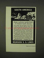 1937 Munson S.S. Lines Cruise Ad - South America