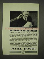 1936 Schick Shaver Ad - He Shaves as He Reads