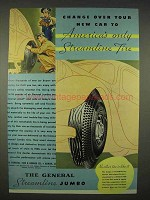 1935 General Streamline Jumbo Tire Ad - Change