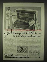 1935 Gem Micromatic Razor and Blades Ad - Rust-Proof