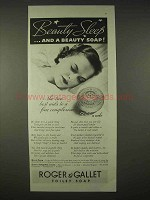1935 Roger & Gallet Toilet Soap Ad - Beauty Sleep
