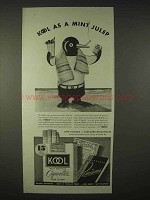 1935 Kool Cigarettes Ad - Kool as a Mint Julep