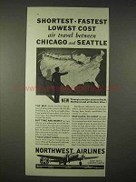1935 Northwest Airlines Ad - Shortest Fastest Cost