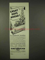 1935 Greyhound Lines Bus Ad - Great Days Ahead