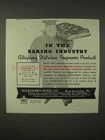 1935 Allegheny Steel Ad - In the Baking Industry