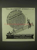 1935 Allegheny Steel Ad - Tennis Nets of Stainless