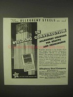 1935 Allegheny Steel Ad - In Building Construction