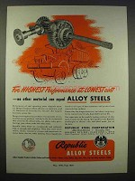 1946 Republic Steel Ad - Alloy Steels Lowest Cost