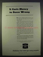 1946 Bethlehem Steel Ad - Costs Money to Guess Wrong