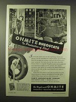1945 Ohmite Rheostats Ad - In Production of Steel