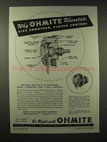 1945 Ohmite Rheostats Ad - Smoother Closer Control