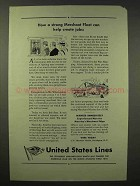 1945 United States Lines Ad - Strong Merchant Fleet