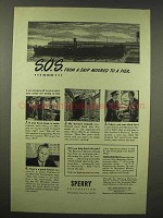 1945 Sperry Corporation Ad - S.O.S. From a Ship Moored