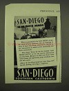 1945 San Diego California Tourism Ad - In Their Minds