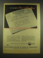 1944 Anaconda Wire & Cable Ad - Wiser to Wire Ahead