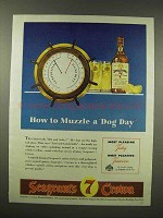 1944 Seagram's 7 Crown Whiskey Ad - Muzzle a Dog Day