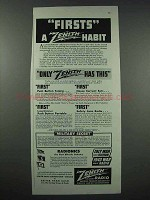 1943 Zenith Radio Ad - Firsts a Habit