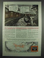1943 Burlington Lines Railroad Ad - All Those Cars