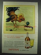 1943 Imperial Whiskey Ad - Fire is Fine in a Gamecock
