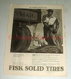 1918 Fisk Solid Tires Tire Ad - NICE!