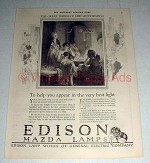 1921 Edison Mazda Lamps Ad w/ Art by P.A. Carter