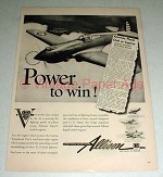 1942 WWII Allison Engine Ad - Curtiss P-40 Tomahawk
