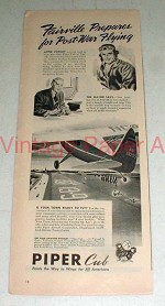 1944 Piper Cub Plane Ad - Prepares for Post-war Flying