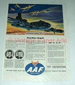 1944 WWII AAF Ad w/ Sad Sack Flying Fortress & P-38