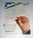 1945 Parker 51 Pen Ad - Writes Dry with Wet Ink