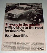 1966 Saab Car Ad - Hold On To The Road For Dear Life
