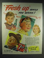 1944 7-up Soda Ad - Fresh Up While You Work