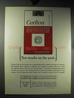 1964 Carlton Cigarettes Ad - Test Results on the Pack