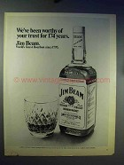 1969 Jim Beam Bourbon Ad - Worthy of Your Trust