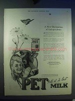 1921 Pet Evaporated Milk Ad - A New Declaration